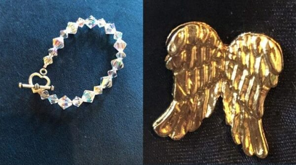 Colorful Swarovski crystal bracelet and a gold angel wings pin